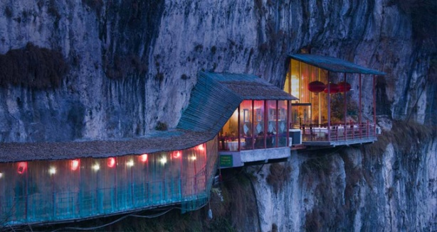 Most Amazing Pictures - Restaurant near Sanyou Cave above the Chang Jiang river, Hubei , China.
